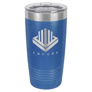 20 oz. Matte Blue Ringneck Vacuum Insulated Tumbler w/Clear Lid